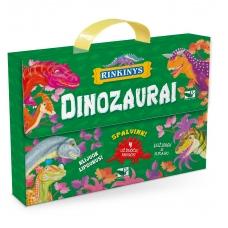 BROKAS!!! Dinozaurai. Lagaminėlis su rankenėle (rinkinyje 4 knygos) (iš grąžinimų, PALANKSTYTA DĖŽUTĖ)