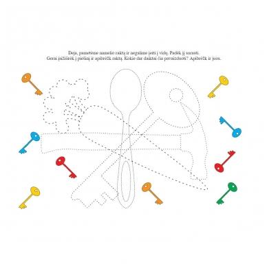Rankos lavinimo užduotys 4-5 metų vaikams. Su flomasteriu. Nutrynęs vėl rašyk (BROKAS, NĖRA FLOMASTERIO) 5