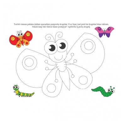 Rankos lavinimo užduotys 4-5 metų vaikams. Su flomasteriu. Nutrynęs vėl rašyk (BROKAS, NĖRA FLOMASTERIO) 2