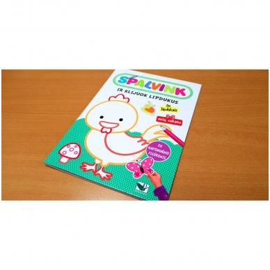 Spalvink ir klijuok lipdukus. Su lipdukais ir kartoninėmis figūromis. 3-5 metų vaikams (BROKAS, PALANKSTYTOS) 2