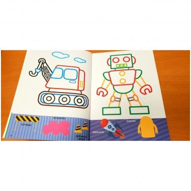 Spalvink ir klijuok lipdukus. Su lipdukais ir kartoninėmis figūromis. 3-5 metų vaikams (BROKAS, PALANKSTYTOS) 7