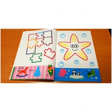 Spalvink ir klijuok lipdukus. Su lipdukais ir kartoninėmis figūromis. 3-5 metų vaikams (BROKAS, PALANKSTYTOS) 3