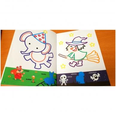 Spalvink ir klijuok lipdukus. Su lipdukais ir kartoninėmis figūromis. 3-5 metų vaikams (BROKAS, PALANKSTYTOS) 4