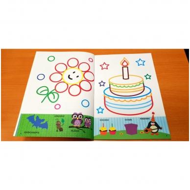 Spalvink ir klijuok lipdukus. Su lipdukais ir kartoninėmis figūromis. 3-5 metų vaikams (BROKAS, PALANKSTYTOS) 5