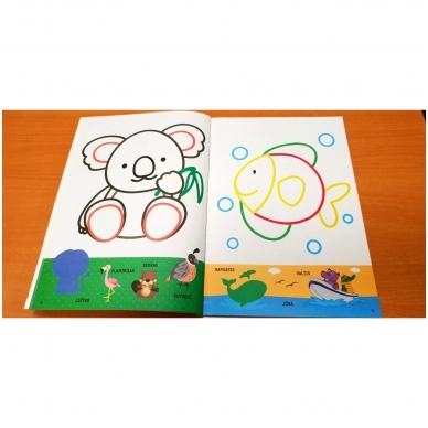 Spalvink ir klijuok lipdukus. Su lipdukais ir kartoninėmis figūromis. 3-5 metų vaikams (BROKAS, PALANKSTYTOS) 6