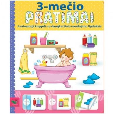 3-mečio pratimai. Lavinamoji knygelė su daugkartinio naudojimo lipdukais