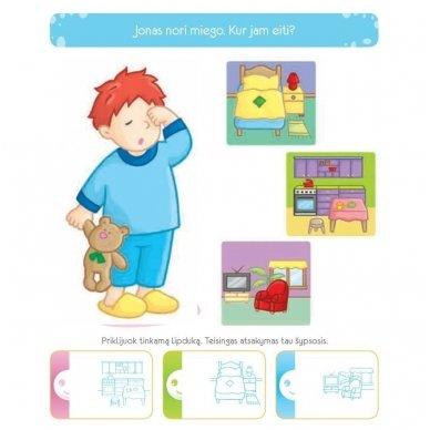 3-mečio pratimai. Lavinamoji knygelė su daugkartinio naudojimo lipdukais 5
