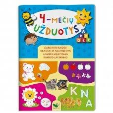 4-mečių užduotys. Garsai ir raidės, skaičiai ir skaitmenys, loginis mąstymas, rankos lavinimas