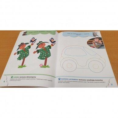 4-mečių užduotys. Garsai ir raidės, skaičiai ir skaitmenys, loginis mąstymas, rankos lavinimas 3