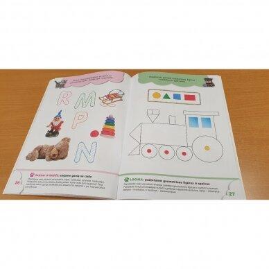 4-mečių užduotys. Garsai ir raidės, skaičiai ir skaitmenys, loginis mąstymas, rankos lavinimas 4