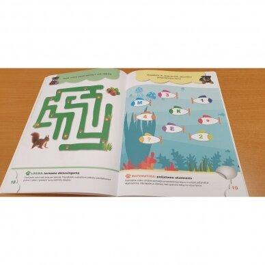 4-mečių užduotys. Garsai ir raidės, skaičiai ir skaitmenys, loginis mąstymas, rankos lavinimas 6