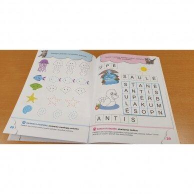 5-mečių užduotys. Garsai ir raidės, skaičiai ir skaitmenys, loginis mąstymas, rankos lavinimas 4