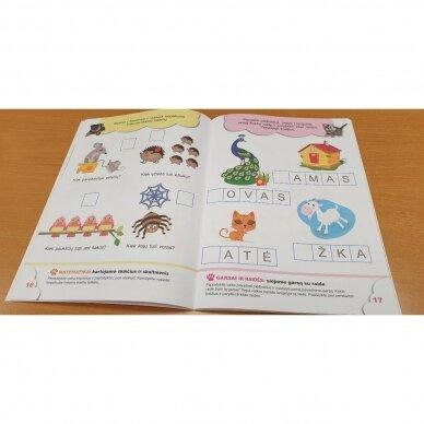 5-mečių užduotys. Garsai ir raidės, skaičiai ir skaitmenys, loginis mąstymas, rankos lavinimas 5
