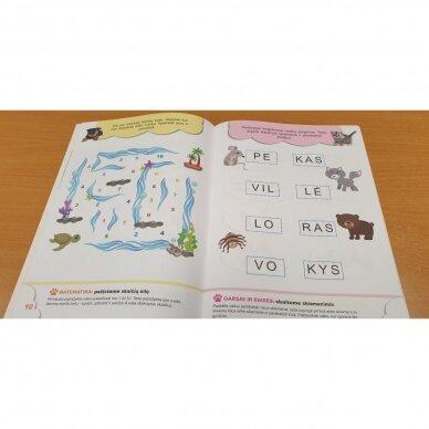 5-mečių užduotys. Garsai ir raidės, skaičiai ir skaitmenys, loginis mąstymas, rankos lavinimas 6