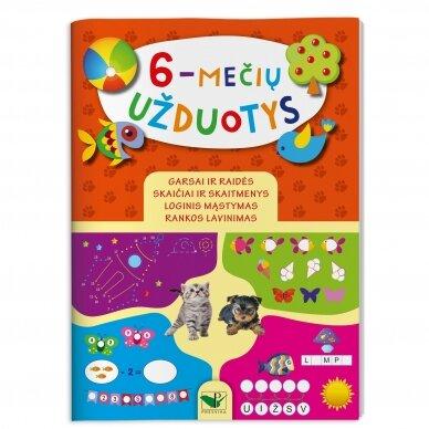 6-mečių užduotys. Garsai ir raidės, skaičiai ir skaitmenys, loginis mąstymas, rankos lavinimas