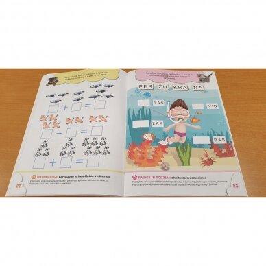 6-mečių užduotys. Garsai ir raidės, skaičiai ir skaitmenys, loginis mąstymas, rankos lavinimas 3