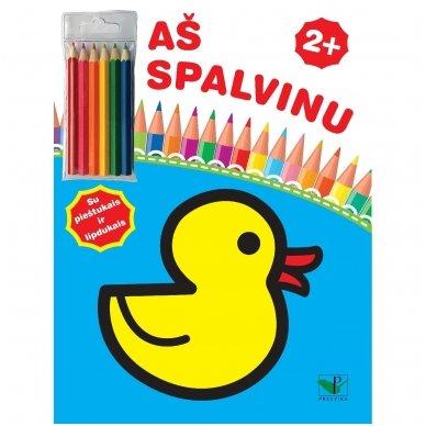 Aš spalvinu 2+. Su pieštukais ir lipdukais