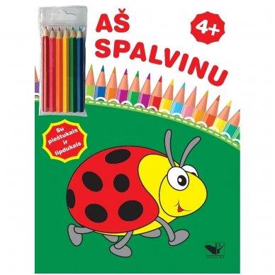 Aš spalvinu 4+. Su pieštukais ir lipdukais
