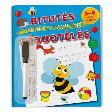 Bitutės rankos lavinimo užduotėlės 5-6 metų vaikams (su flomasteriu)