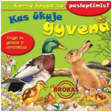 BROKUOTA!!! Kas ūkyje gyvena. Garsų knyga su paslaptimis. VIENAS ATVERTIMAS NEGROJA!!!