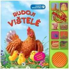 BROKUOTA!!! Rudoji vištelė. Pasakos apie gyvūnus su garsais. NEVEIKIA GARSO MODULIS!!!