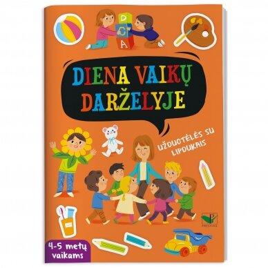 Diena vaikų darželyje. Užduotėlės su lipdukais. 4-5 metų vaikams