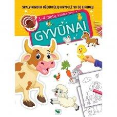 BROKAS!!! GYVŪNAI. Spalvinimo ir užduotėlių knygelė 3-4 metų vaikams (nedideli trūkumai)