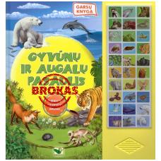 BROKAS!!! Gyvūnų ir augalų pasaulis. Garsų knyga (garsai veikia, spaustuvės brokas)