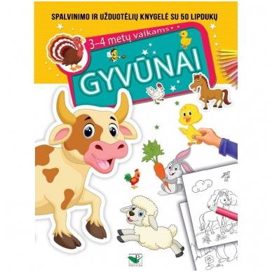 GYVŪNAI. Spalvinimo ir užduotėlių knygelė su 50 lipdukų 3-4 metų vaikams