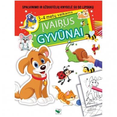 ĮVAIRŪS GYVŪNAI. Spalvinimo ir užduotėlių knygelė su 50 lipdukų 3-4 metų vaikams
