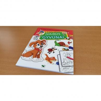ĮVAIRŪS GYVŪNAI. Spalvinimo ir užduotėlių knygelė su 50 lipdukų 3-4 metų vaikams (BROKAS, PERLENKTOS) 2
