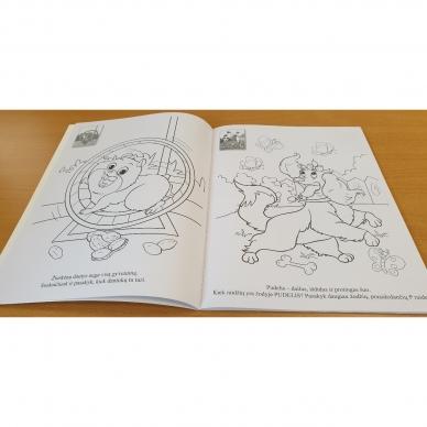 ĮVAIRŪS GYVŪNAI. Spalvinimo ir užduotėlių knygelė su 50 lipdukų 3-4 metų vaikams (BROKAS, PERLENKTOS) 3