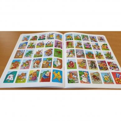 ĮVAIRŪS GYVŪNAI. Spalvinimo ir užduotėlių knygelė su 50 lipdukų 3-4 metų vaikams (BROKAS, PERLENKTOS) 5