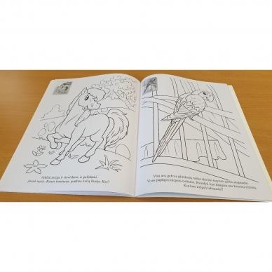 ĮVAIRŪS GYVŪNAI. Spalvinimo ir užduotėlių knygelė su 50 lipdukų 3-4 metų vaikams (BROKAS, PERLENKTOS) 6