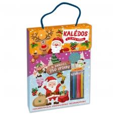 Kalėdos. Knygelių rinkinys. 2 spalvinimo knygelės, užduotėlių knygelė, 250 lipdukų knygelė ir 6 spalvoti pieštukai (2019)