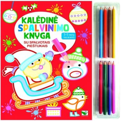 Kalėdinė spalvinimo knyga su 8 spalvotais pieštukais 3-5 metų vaikams (SU DEFEKTAIS)