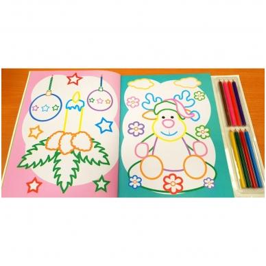 Kalėdinė spalvinimo knyga su 8 spalvotais pieštukais 3-5 metų vaikams (SU DEFEKTAIS) 3