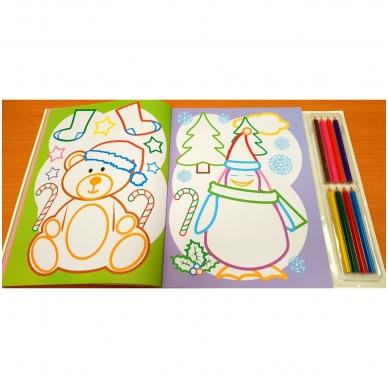 Kalėdinė spalvinimo knyga su 8 spalvotais pieštukais 3-5 metų vaikams (SU DEFEKTAIS) 4