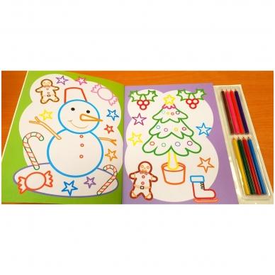 Kalėdinė spalvinimo knyga su 8 spalvotais pieštukais 3-5 metų vaikams (SU DEFEKTAIS) 5