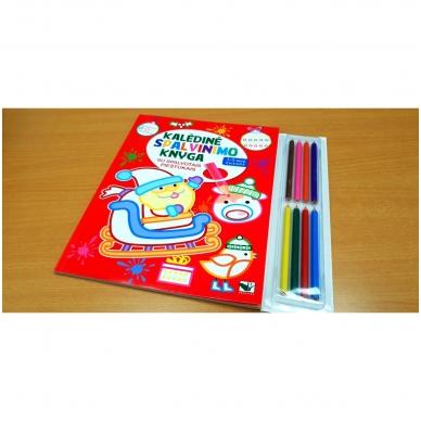 Kalėdinė spalvinimo knyga su 8 spalvotais pieštukais 3-5 metų vaikams (SU DEFEKTAIS) 2