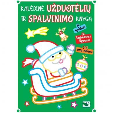 Kalėdinė užduotėlių ir spalvinimo knyga su lipdukais ir kartoninėmis figūromis. 3-5 metų vaikams