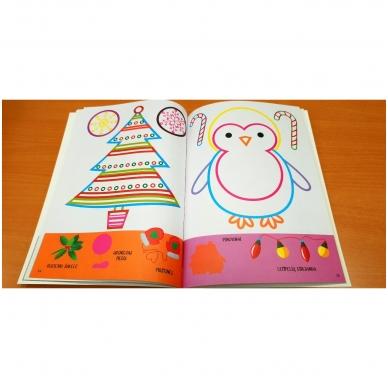 Kalėdinė užduotėlių ir spalvinimo knyga su lipdukais ir kartoninėmis figūromis. 3-5 metų vaikams 3