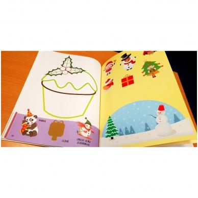 Kalėdinė užduotėlių ir spalvinimo knyga su lipdukais ir kartoninėmis figūromis. 3-5 metų vaikams 4