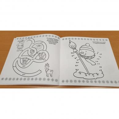 Kalėdinis rinkinys. 2 spalvinimo knygelės, užduotėlių knygelė, 250 lipdukų knygelė ir 6 spalvoti pieštukai (RAUDONAS) 9