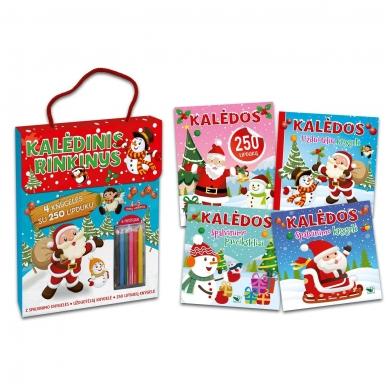 Kalėdinis rinkinys. 2 spalvinimo knygelės, užduotėlių knygelė, 250 lipdukų knygelė ir 6 spalvoti pieštukai (RAUDONAS) 2