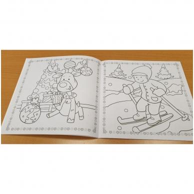 Kalėdos. Knygelių rinkinys. 2 spalvinimo knygelės, užduotėlių knygelė, 250 lipdukų knygelė ir 6 spalvoti pieštukai (2019) 10