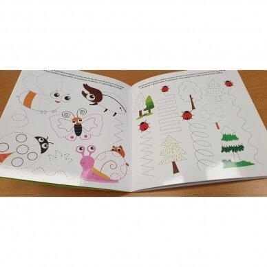 Katinėlio rankos lavinimo užduotėlės 4-5 metų vaikams (su flomasteriu) 2
