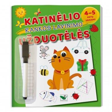 Katinėlio rankos lavinimo užduotėlės 4-5 metų vaikams (su flomasteriu)