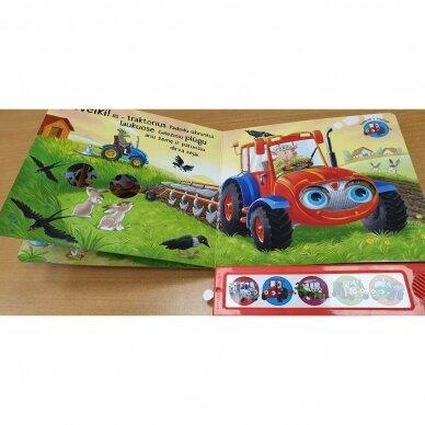 Kokios mašinos padeda ūkyje. 5 mašinų garsai. Mirksintys žibintai 4