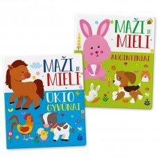KOMPLEKTAS Maži ir mieli. Augintiniai + Ūkio gyvūnai (2 knygelės)